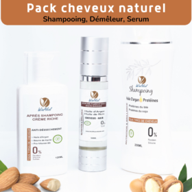 pack cheveux naturel, shampoing, demeleur, serum