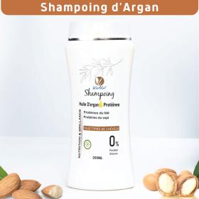 Shampoing d'argan et protéines de blé et soja anti chute, sans silicone, sans paraben
